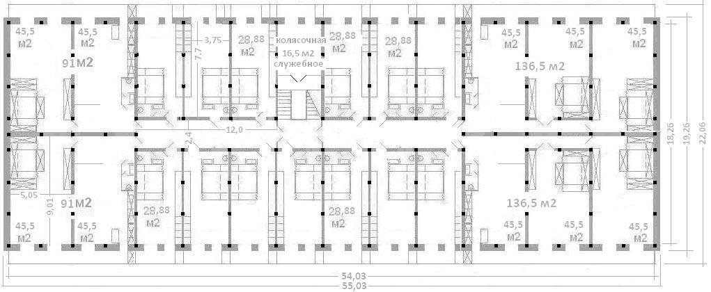 2-х комнатных квартир х 91 м2